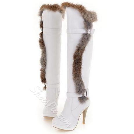 Sexy Buckle Cony Hair Decoration Knee High Boots