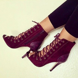 Sexy Lace-up Dark Brown Ankle Boots