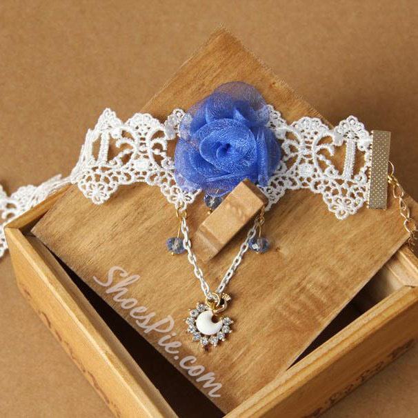 Gorgeous Lace Rhinestone Flower Anklet