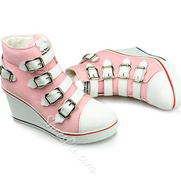 Concise Buckle High-top Wedge Canvas Shoes