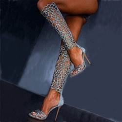 Hot Cut-Outs Knee High Blue Stiletto Dress Sandals