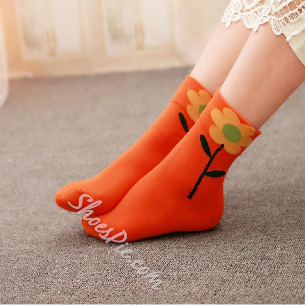 Sweet Sunflower Print 100% Cotton Socks