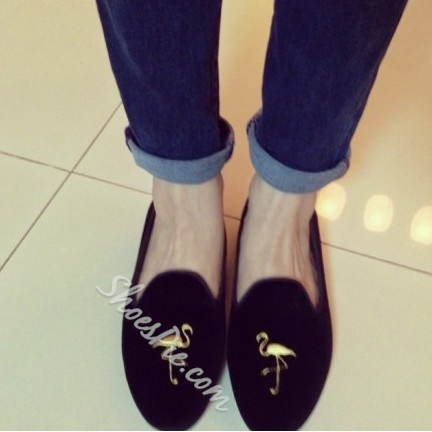 Fabulous Cowhide Round-toe Swan Print Suede Flats