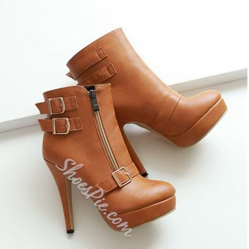 Solid Color Metal Buckle Stiletto Heels Short Boots