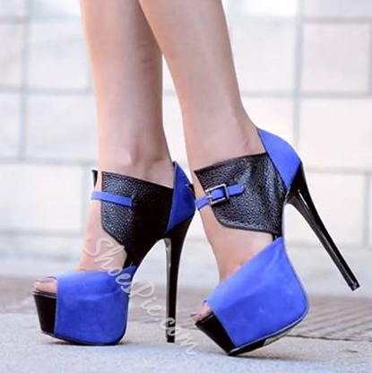 New Fashion Contrast Color Platform Heels