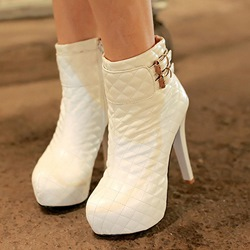 Round Toe Buckle Stiletto Heel Short Boots