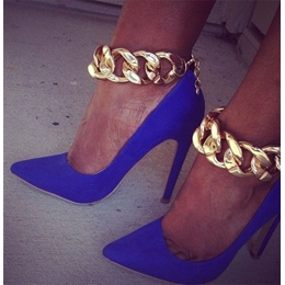 Sexy Metal Chain Pointed-toe Heels