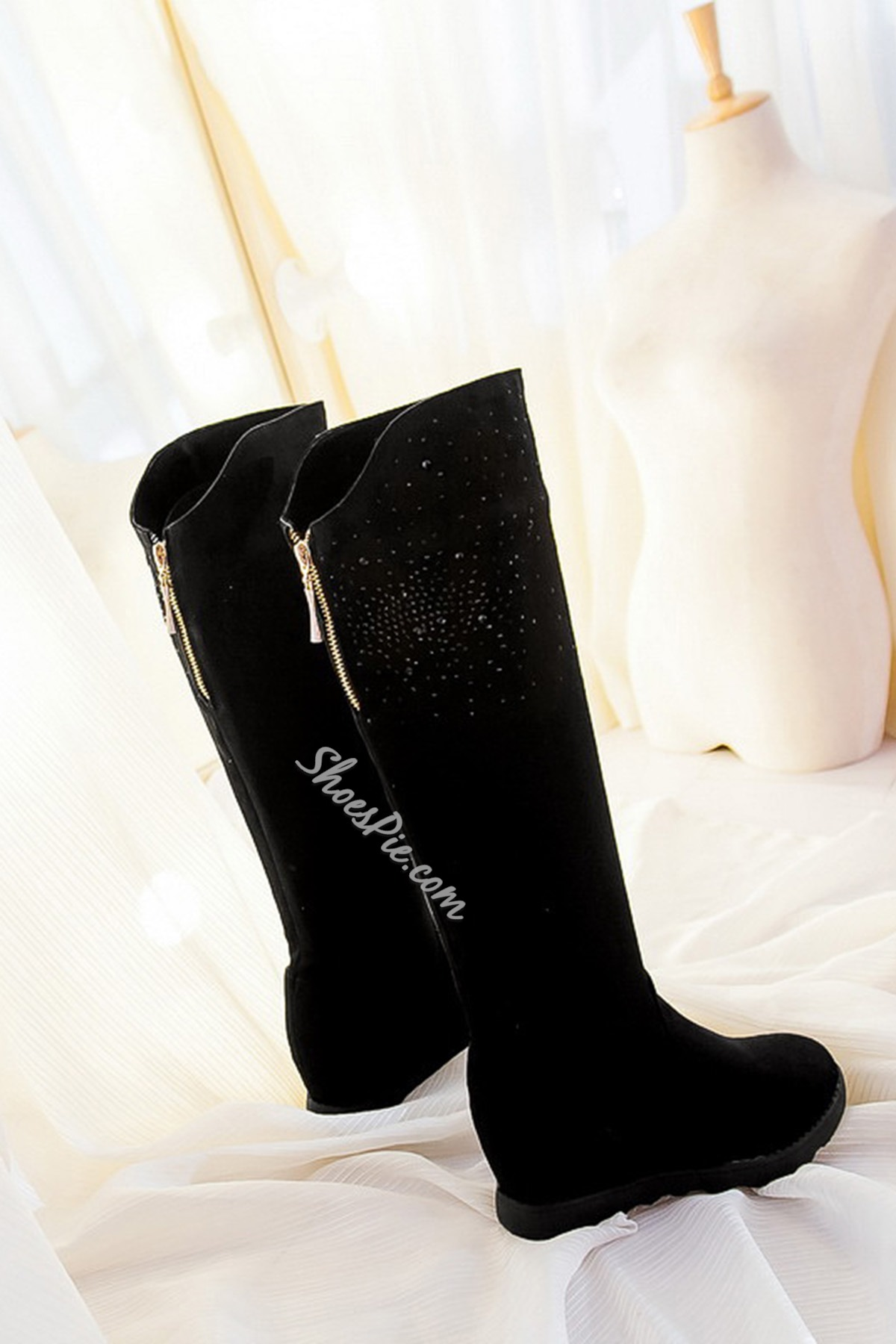 Solid Color Rhinestone Decorated Knee High Boots