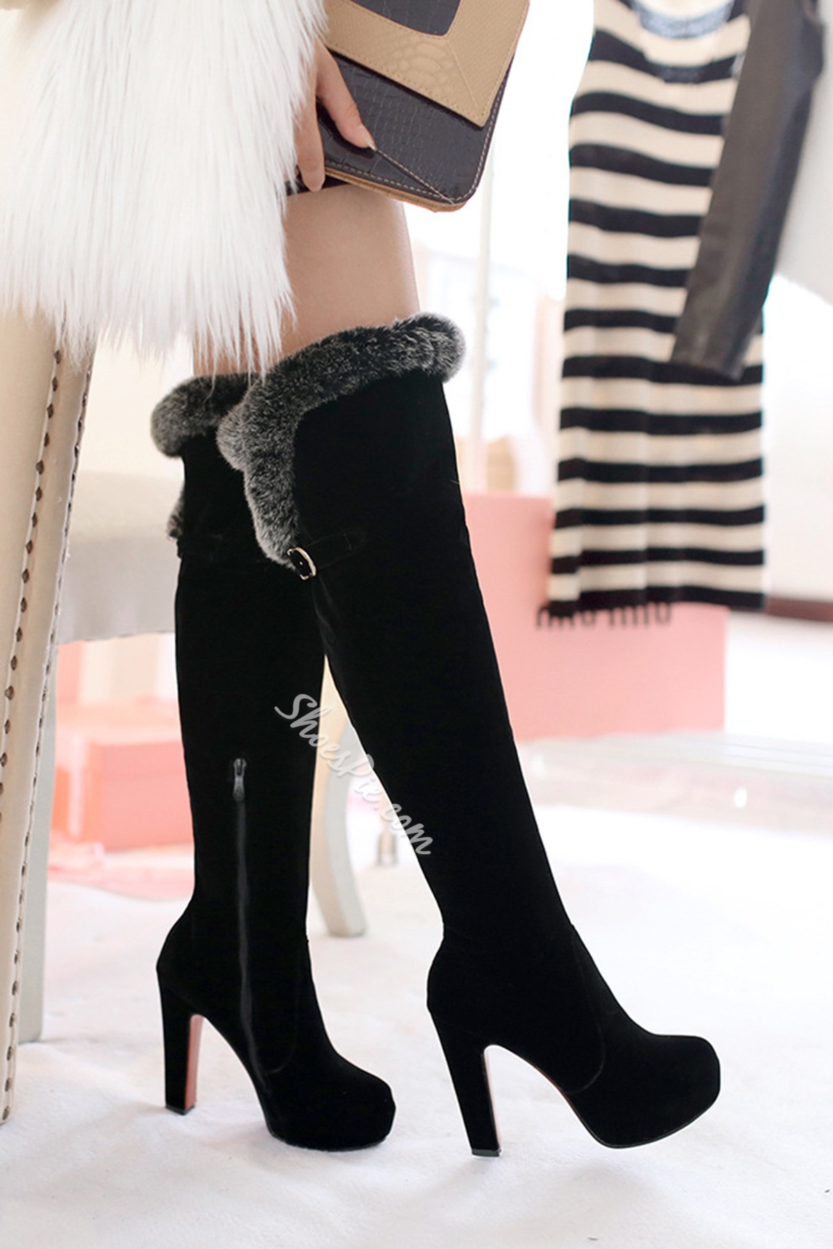 Black Round Toe Fur Knee High Boots
