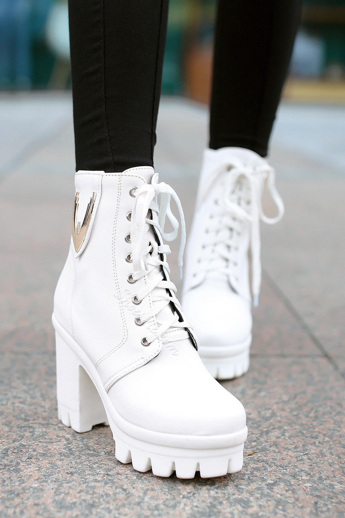 Fancy Round Toe Lace-Up Chunky Heel Boots- Shoespie.com