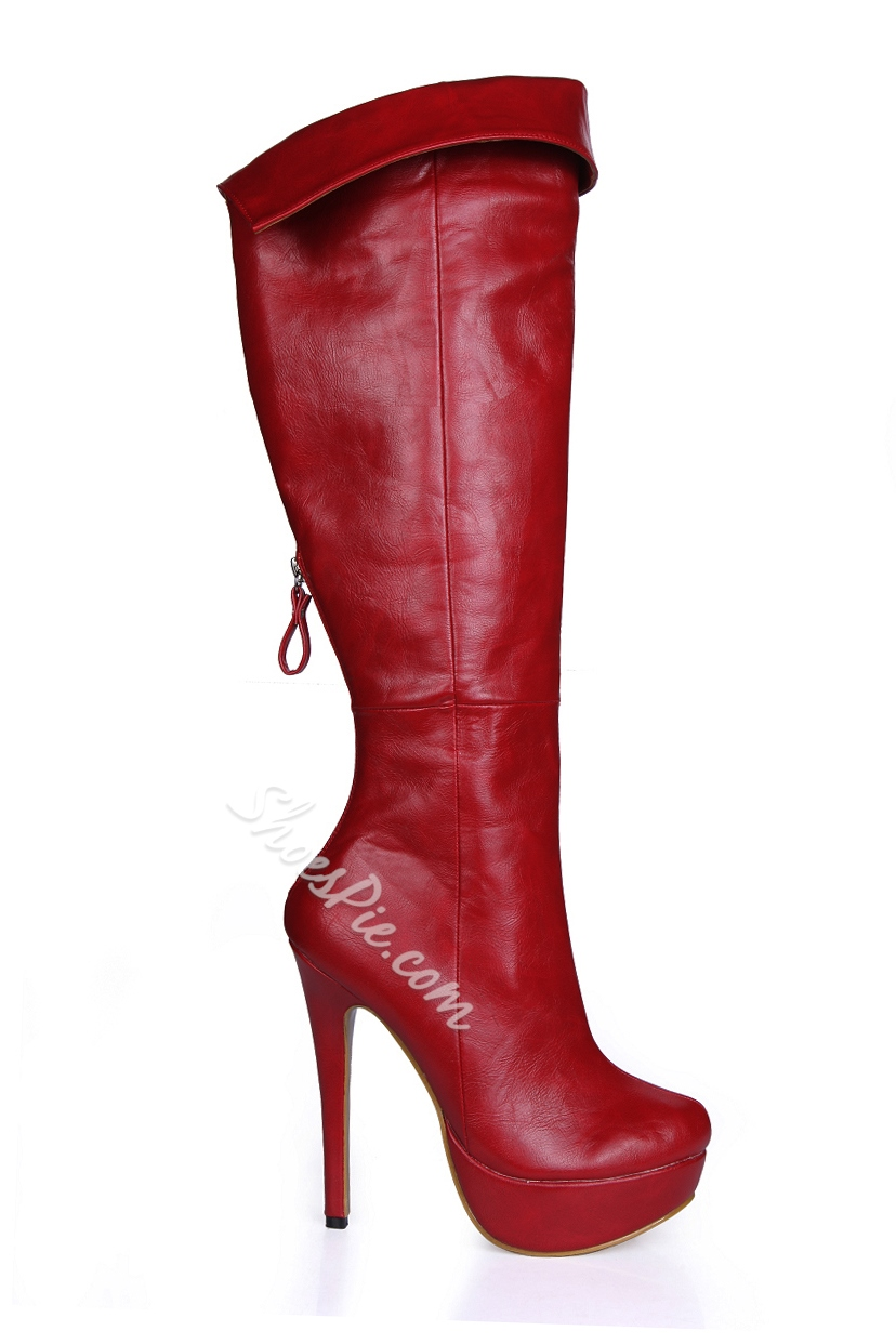 Wine Red Back Zipper Stiletto Heel Knee High Boots