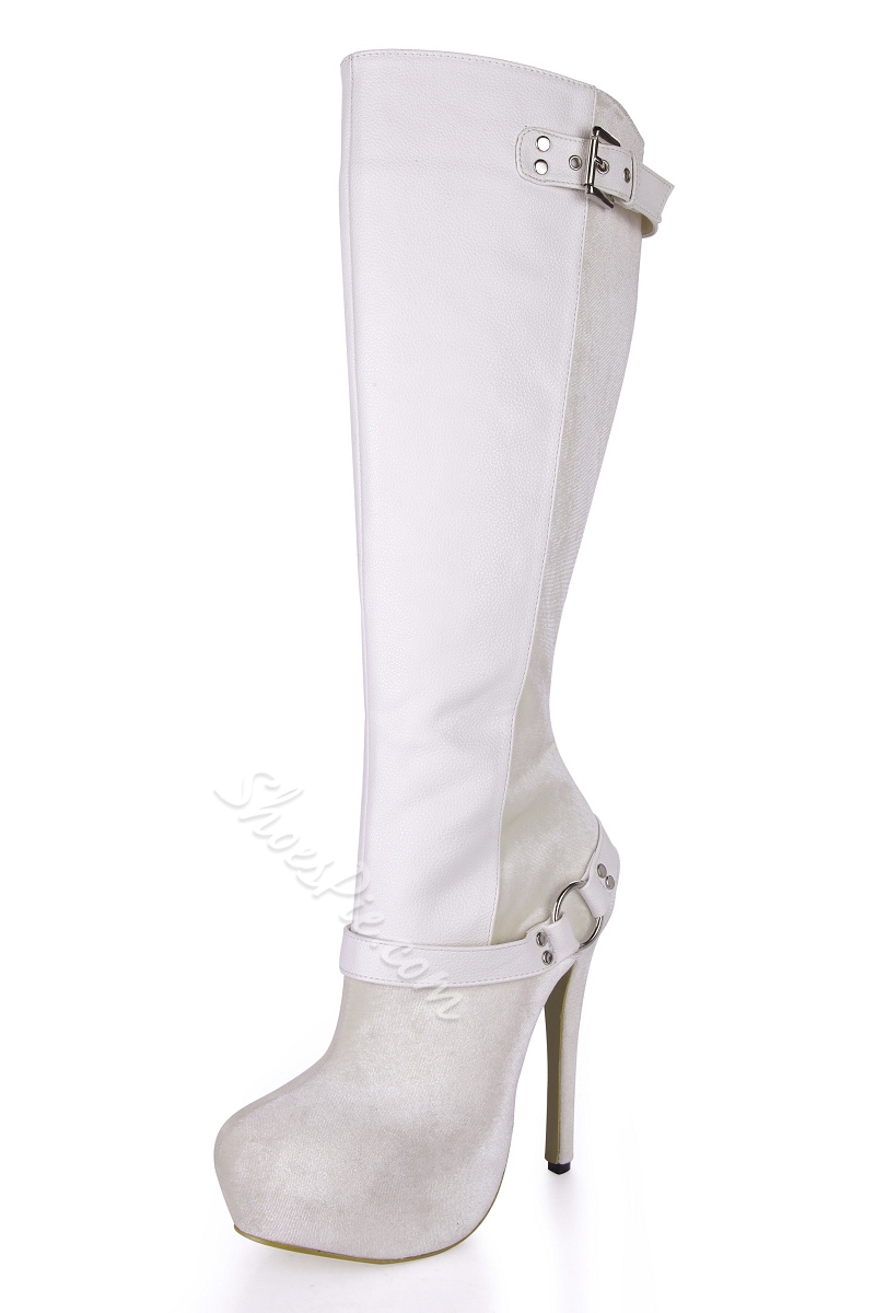 Color Block Patchwork Stiletto Heel Knee High Boots