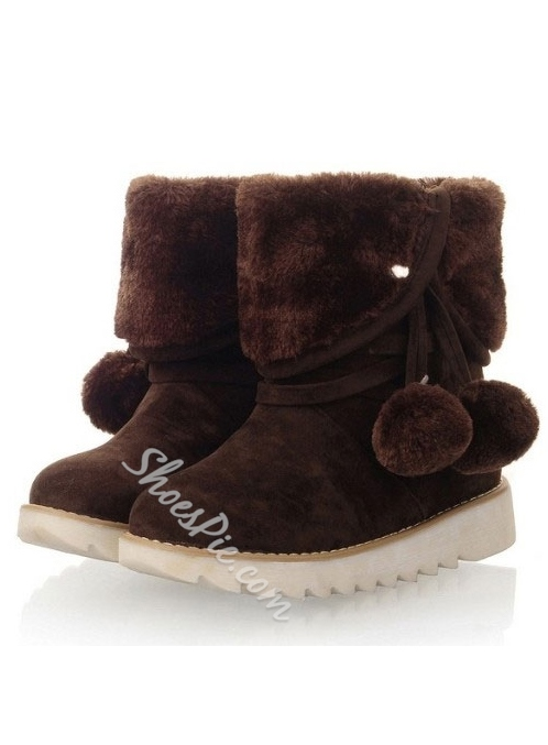 Adorable Pompon Decorated Snow Boots