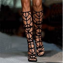 Sexy Cut-outs Black Stiletto Dress Sandals