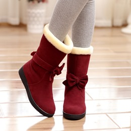 Lovely Bowtie Decoration Snow Boots