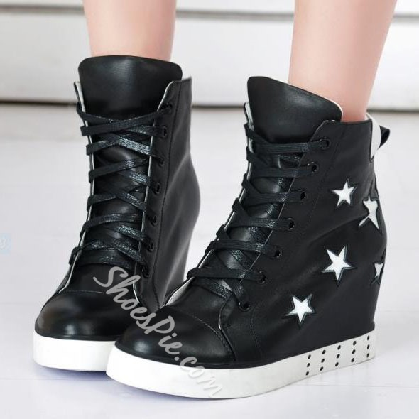 Stylish Genuine Leather High-top Star Sneaker