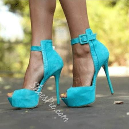 Concise Solid Color Ankle Strap Platform Sandals