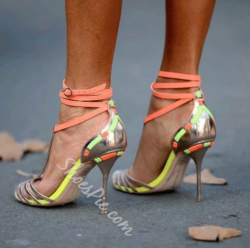 Exquisite Contrast Color Straps Dress Sandals