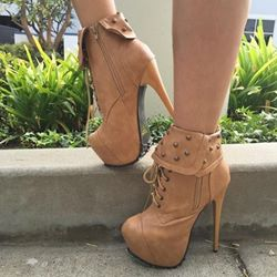 Striking Lace-up Rivets Design Platform Heels Ankle Boots