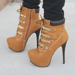 Stylish Lace-up Rivets Decoration Platform Heels High Heels Boots