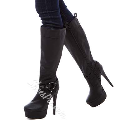 Fashionable Chain Strap Decoration Sheepskin Knee High Boots