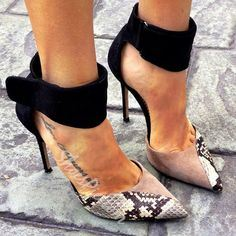 Two Part Snake Pattern Ankle Wrap Stiletto Heels