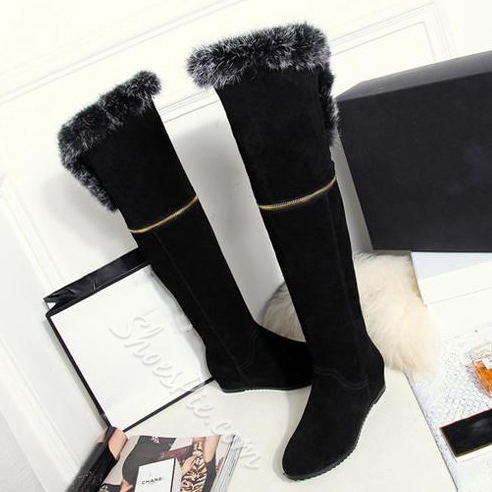 Prepossessing Zipper Decoration Cony Hair Knee High Boots