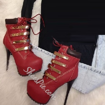 Shoespie Stylish Lace-up Rivets Platform High Heels Boots