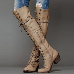 Shoespie Unique Lace-up Rivets Decorated Knee High Boots