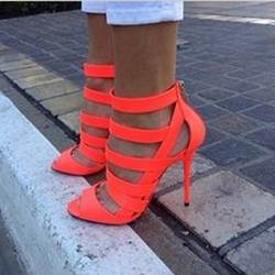 Dramatic Orange Cut-Outs Dress Sandals