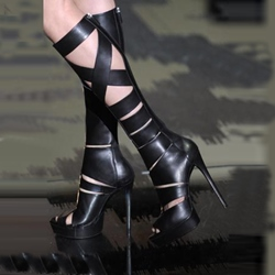 Popular Cut-outs Peep-toe Knee High Platform Sandals