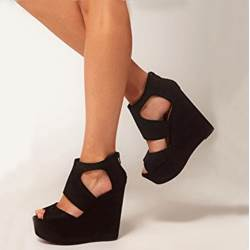 Shoespie Simple Black Peep-toe Wedge Sandals