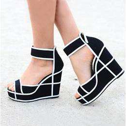 Appealing Contrast Color Ankle Wrap Wedge Sandals