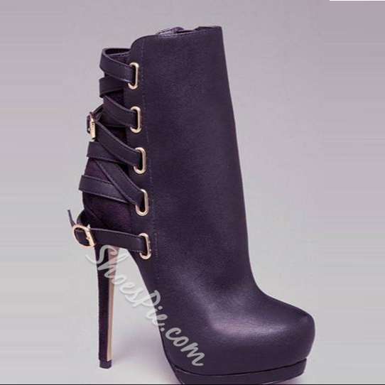 Gorgeous Back Strap Buckles Ankle Boots