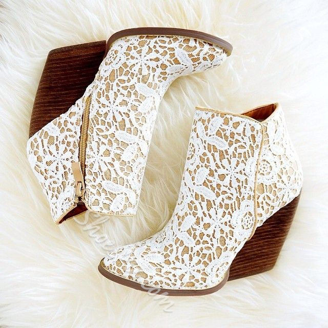 Pretty Lace Materials Wedge Ankle Boots