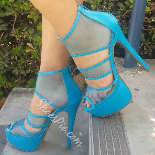 Remarkable Cut-Outs Platform Sandals with Zipper