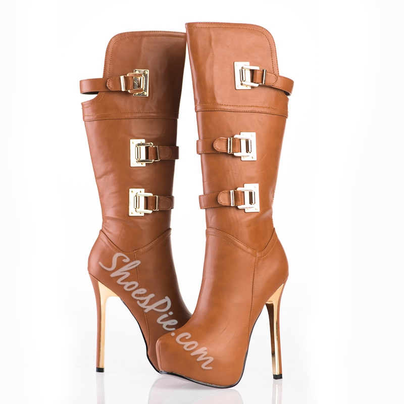 Sexy Large Size Platform Stilleto Heels Knee High Boots