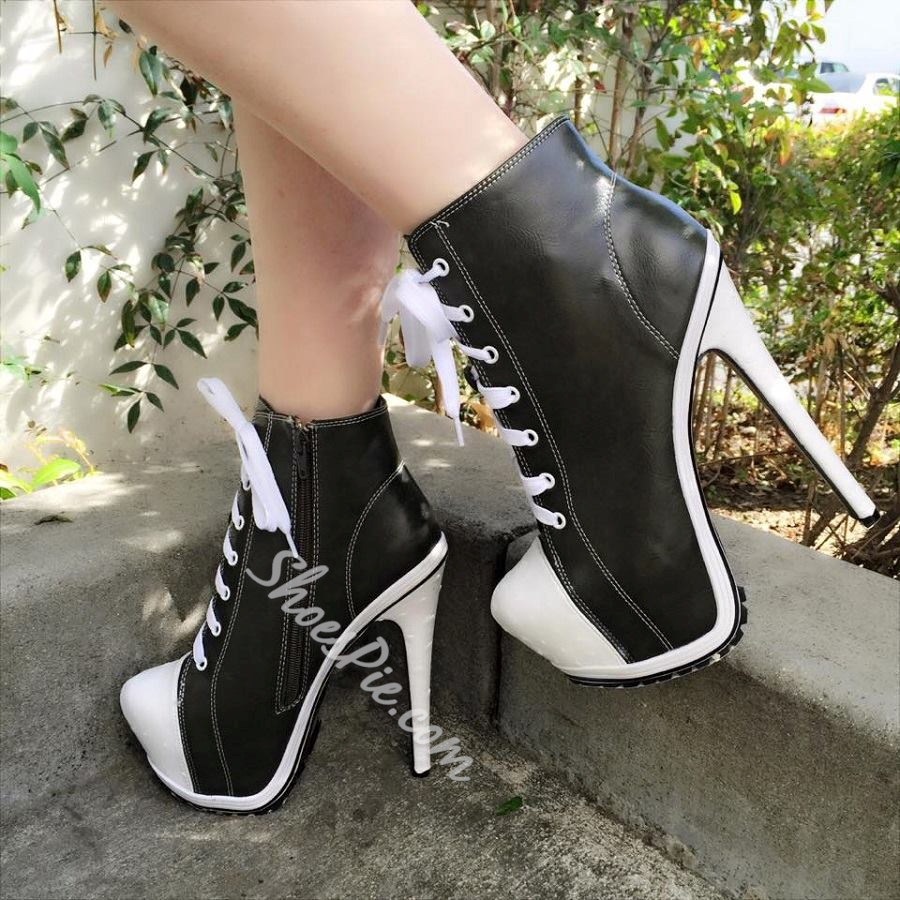 Shapely Lace-up High Heels Ankle Boots
