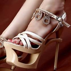 Sexy Rhinestone Satin Sky High Dress Sandals
