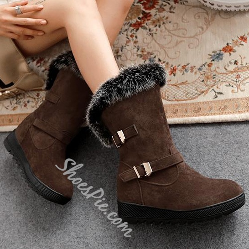 New Arrival Cony Hair Buckle Snow Boots