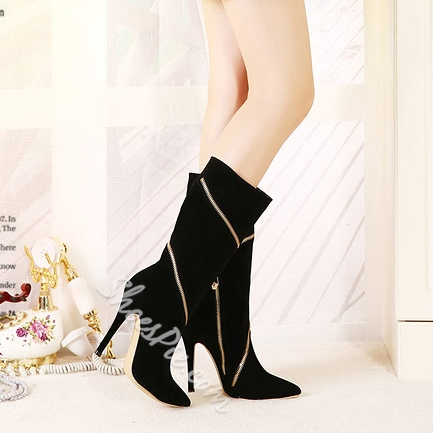 Fashionable Zipper Decorated Knee High Boots