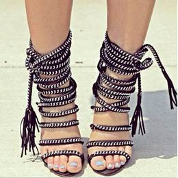 Sexy Metal Decoration Lace-Up Dress Sandals