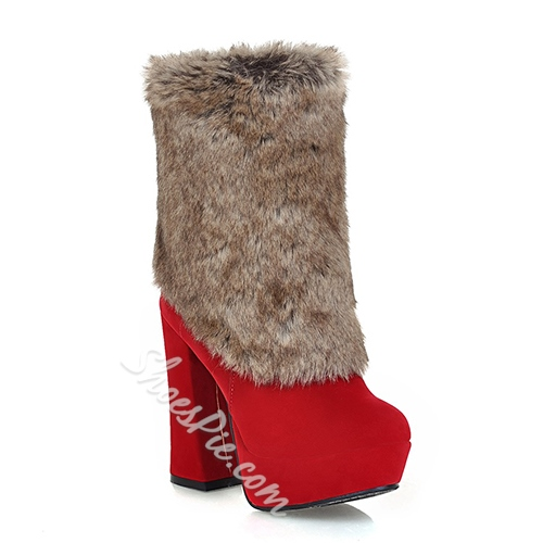 Sexy Warm Plush Chunky Heels Ankle Boots