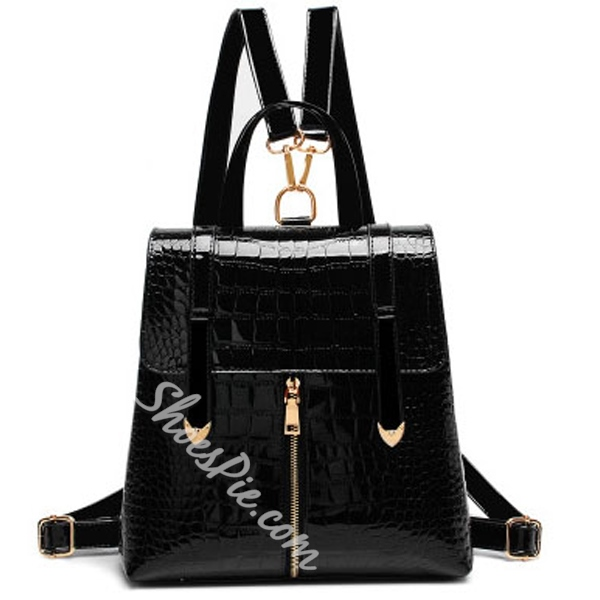 Shoespie Fashion Pure Color Zipper PU Backpack