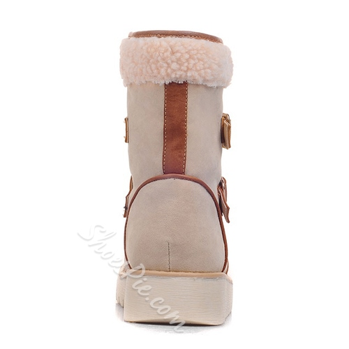 Exquisite Buckles Decorated Snow Boots