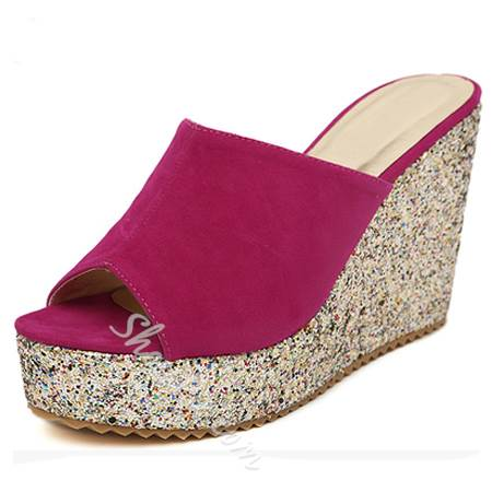 Shoespie Glamorous Suede Glitter Wedge Slippers