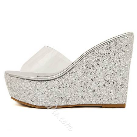 Pretty Transparent Upper Glitter Wedge Slippers
