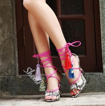 Sexy Lace-Up Colorful Tassels Dress Sandals