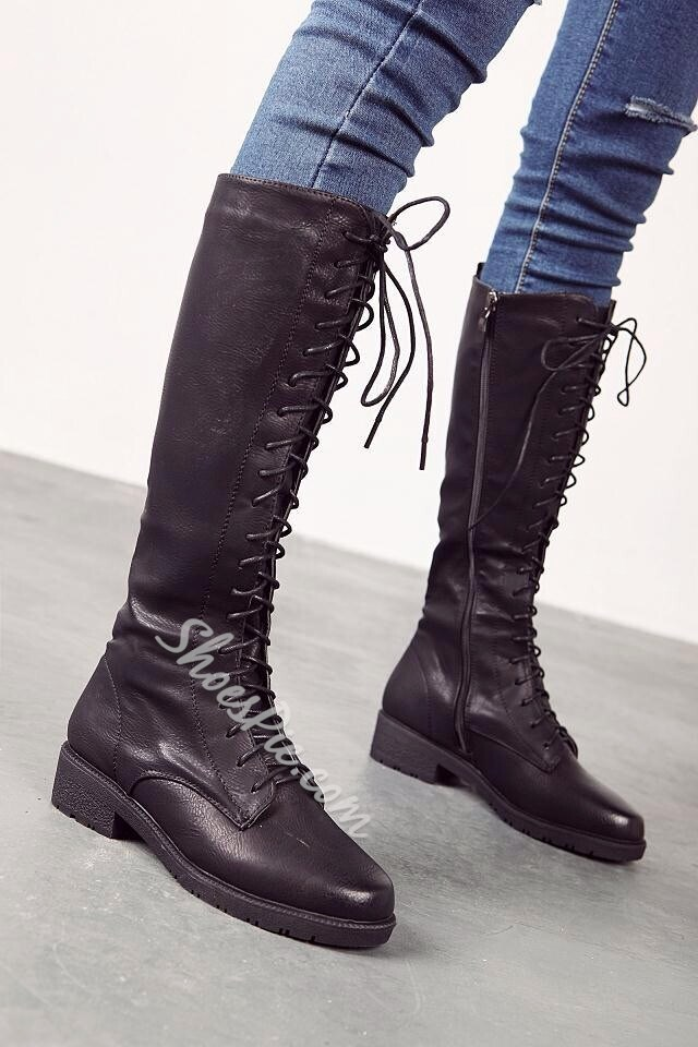 Casual Lace up Flat Knee High Boots- Shoespie.com