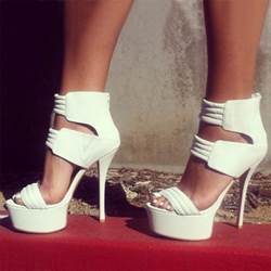 Shoespie Fabulous White Platform Sandals with Zipper